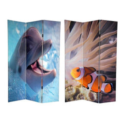 Oriental Furniture - 6 ft. Tall Double Sided Dolphin and Clownfish Room Divider - Explore the wonders of the sea with a pair of close-up photos featuring two of the ocean's most beloved creatures. On the front, we've found  Nemo , a classic image of a clownfish swimming against a backdrop of ocean life. On the back is a close up of a bottlenose dolphin, the original shark killer, with an infectious smile made famous by the classic 60's TV series  Flipper . These images combine powerful colors and eye-catching subjects to provide you with a wonderful decorative accent perfect for any living room, bedroom, dining or kitchen. This three panel screen has different images on each side, as shown