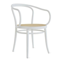 Era Round Armchair with Cane - The sinuous and elegant design of this classic cafe armchair is accented with a natural cane seat.