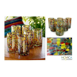 Novica - Set of 6 Blown Glass 'Carnival' Tumblers (Mexico) - Create a fabulous fiesta anywhere with these charming contemporary glass tumblers from Mexico. This striking set of six hand blown glass tumblers features a bold and colorful pattern that looks like confetti. They are also dishwasher safe.