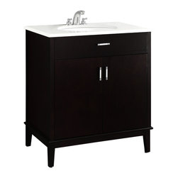 "Simpli Home - Urban Loft Espresso 30"" Bath Vanity with White Quartz Marble Top - The Simpli Home 30 inch Urban Loft Vanity Collection is defined by its dark espresso brown finish,  multi finish chrome pulls & hardware and clean lines and contemporary look.    This beautiful assembled vanity provides large storage area with internal shelf behind its 2 doors."