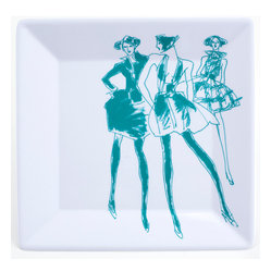 Working Class Studio - Ben Collection Melamine - Fashion Plate Set - Teal - Strike a pose when you plate and bring an en vogue vibe to your decor. This couture-inspired plate collection will make everything you serve more chic and turn everyday meals into a style celebration.