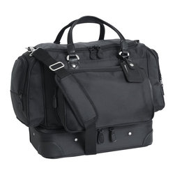 Mercury Luggage - Ballistic Nylon Carry All Locker Bag - 1680 denier ballistic nylon carry-all locket bag with four separate zippered pockets. Molded zippered drop bottom compartment for extra storage. Detachable adjustable shoulder strap and luggage tag. Antique brushed silver hardware. 15.75 in. L x 14 in. W x 9.75 in. H
