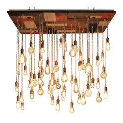 Urban Chandy - Reclaimed Pine Mosaic Chandelier - You won't be able to take your eyes off this stunning chandelier, crafted from a reclaimed pine wood base that's stained in different hues. Sixty pendants made from ivory cloth cord, copper hardware and copper trim hang down dramatically to stop visitors in their tracks.