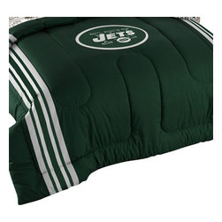 The Northwest Company - 3 Piece NFL New York Jets Football Twin-Full Bed Comforter Set - Features: