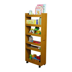 Venture Horizon - Mobile 6 Shelf Thin Man Pantry Cabinet in Oak - 6 Roomy shelves with raised panels, keeps items in place. Fits in narrow places. Holds heavy cans and large boxes. Rugged and sturdy construction. Casters add mobility. Useful in any room in the house. Constructed from durable, stain resistant and laminated wood composites that includes MDF. Made in the USA. Assembly required. Weight: 59 lbs.. Assembled size: 10 in. W x 23.5 in. D x 58 in. HDramatically increases storage space...Frees Up Counters. Modeled after our best selling laundry Caddy, the Thin Man Pantry Caddy turns unused areas of the kitchen or pantry into maximum storage space. Because it is on casters the Thin Man glides effortlessly into small seemingly useless spaces alongside the refrigerator or already loaded cupboards. When recessed you'll hardly know it's there. It is however, extremely sturdy and will stand alone anywhere you put it. 6 roomy shelves will accommodate heavy cans, large cereal boxes, spices, bottles and anything else that needs a home. Elevated side panels prevent sliding and spillage. Every kitchen needs one. Every homemaker wants one.