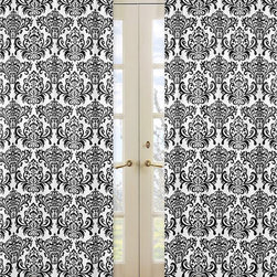 Sweet Jojo Designs - Damask Print Isabella 84-inch Curtain Panel Pair - These machine-washable curtain panels feature an eye-catching pattern and a stately black and white color scheme. Durably crafted with a rod-pocket design,these versatile cotton curtains provide a stylish touch to any room or decor.