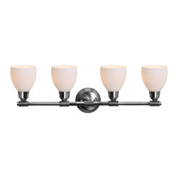Access Lighting - Access Lighting Greko 4-lt Vanity Wall Fixture - Contemporary4-lt Vanity Wall Fixture in brushed steel finish. Available with opal glass..Close out prices. While supplies last