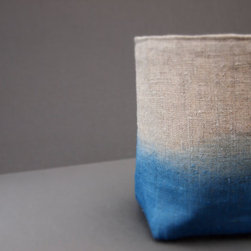 Organic Dip-Dyed Natural Blue Indigo Linen Fabric Storage Basket By JeanieDeans - Typical storage baskets are often lacking in design, but this linen version is quite the opposite. Baskets like this are great for shelving and I use similar ones to stick in my bookcases.