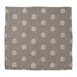 Montauk Wheels Napkin, Set of 2, Stone/White