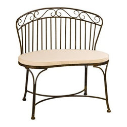 Deer Park Ironworks Imperial Bench - Give your patio or garden path a charming accent with the Deer Park Ironworks Imperial Bench. Made of durable heavy gauge steel, this bench is perfect indoors or out. Its powder coated, patina finish adds a weathered charm while fending of the damaging effects of Mother Nature. Rubber feet prevent marring while curved details add charm to any setting.About Deer Park Ironworks, LLCYou'll immediately recognize a yard that's been appointed with pieces from Deer Park, thanks to the classic wrought iron designs and traditional finish that has made them an power player in the outdoor furniture industry. Dedicated to creating value for their customers with durable, quality pieces of functional and ornamental wrought iron, Deer Park continues to provide timeless designs while never sacrificing customer service and satisfaction as their pursue their corporate goals.