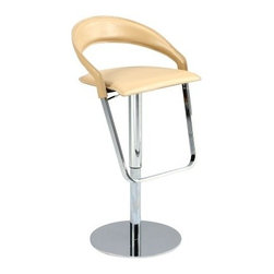 Chintaly Landen Curved Back Pneumatic Gas Lift Adjustable Height Swivel Bar Stoo - Too chic to handle, the Chintaly Landen Curved Back Pneumatic Gas Lift Adjustable Height Swivel Bar Stool has a modern design you'll love. This fine stool can adjust height from 23 to 32 inches with the pull of a lever. It has a curving back and square seat upholstered in creamy leather. The steel frame gleams in the light with its chrome finish.About Chintaly ImportsBased in Farmingdale, New York, Chintaly Imports has been supplying the furniture industry with quality products since 1997. From its humble beginning with a small assortment of casual dining tables and chairs, Chintaly Imports has grown to become a full-range supplier of curios, computer desks, accent pieces, occasional table, barstools, pub sets, upholstery groups and bedroom sets. This assortment of products includes many high-styled contemporary and traditionally-styled items. Chintaly Imports takes pride in the fact that many of its products offer the innovative look, style, and quality which are offered with other suppliers at much higher prices. Currently, Chintaly Imports products appeal to a broad customer base which encompasses many single store operations along with numerous top 100 dealers. Chintaly Imports showrooms are located in High Point, North Carolina and Las Vegas, Nevada.