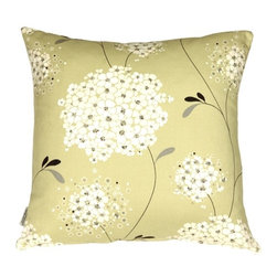 Pillow Decor - Vintage Bloom Green Throw Pillow - Bring your sofa to life. The floral design of this cotton throw pillow is sure to capture everyone's attention. The cream, silver and muted green hues give it a look that's both crisp and elegant — something that will never go out of style.