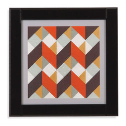 Bassett Mirror - Bassett Mirror Framed Under Glass Art, Custom Chevron Illusion IV - Custom Chevron Illusion IV
