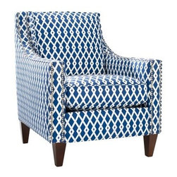Homeware Pryce Accent Chair - Ultramarine - Create a gorgeous focal point in any room with the Homeware Pryce Accent Chair - Ultramarine. More than an accent piece, this chair's stunning geometric print in cobalt blue and oxford white adds style and catches the eye. This gorgeous chairs features long, modern track arms outlined in a double row of pewter nailhead trim, bringing out the beauty and luxurious design of the chair. Its gorgeous wood frame is finished in a rich espresso, highlighting the classic lines and understated beauty.Not available for sale in, or delivery to, the state of California.