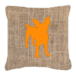 Caroline's Treasures - Chihuahua Burlap and Orange Fabric Decorative Pillow Bb1108 - Indoor or Outdoor pillow made of a heavy weight canvas. Has the feel of Sunbrella fabric. 14 inch x 14 inch 100% Polyester Fabric pillow Sham with pillow form. This pillow is made from our new canvas type fabric can be used Indoor or outdoor. Fade resistant, stain resistant and Machine washable.