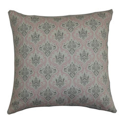 """The Pillow Collection - Paulomi Damask Pillow Twill Pink 18"""" x 18"""" - This unique throw pillow gives your room a vintage-inspired look with its traditional damask print. Elevate your decor style by adding this square pillow in your living room, bedroom or guestroom. The decor pillow features shades of pink and gray. Create a collection of these damask pillows for a luxurious twist. This 18"""" pillow is made of 100% plush and high-quality cotton fabric. Hidden zipper closure for easy cover removal.  Knife edge finish on all four sides.  Reversible pillow with the same fabric on the back side.  Spot cleaning suggested."""