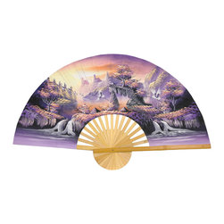 "Oriental Furniture - Glorious Dream Fan - 40"" - This decorative wall fan was hand crafted using split bamboo slats with sateen fabric. It features a handpainted Glorious Dream design in a palette of lavender, ivory, and pale gold, with lucky white cranes flying over a forested lake surrounded by mountains. This fan makes a striking Far East accent in the home or office."