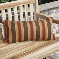 None - Charisma Outdoor Autumn Stripe Pillow Made with Sunbrella - The Charisma autumn striped outdoor pillow is an appealing addition to your outside furniture. The small size fits perfectly on most seating. It features Sunbrella technology,which provides protection against sun,rain,or mildew damage.