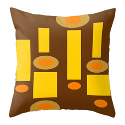 Crash Pad Designs - Crash Pad Designs Mod Throw Pillow- Homer - A playful pop of color in intriguing shapes is just what your decor needs, and this mod pillow will provide just that. The retro-inspired brown, yellow, and orange geometric pattern is printed on both sides of this 100 percent spun polyester poplin fabric pillow. This machine-washable pillow features a hidden zipper closure and a polyester fill insert, and will look so chic on your sofa or daybed.
