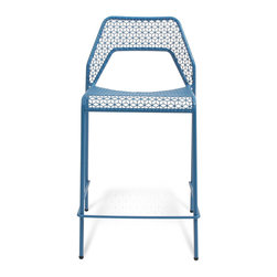 Blu Dot - Blu Dot Hot Mesh Counterstool, Simple Blue - Chipper stool seeks derrieres for at home enjoyment or cafe canoodling. Available in six finishes: black, green, humble red, natural yellow, simple blue and off-white. Stackable and suitable for use indoors or out. Also available as a chair or counterstool.Powder-coated steel