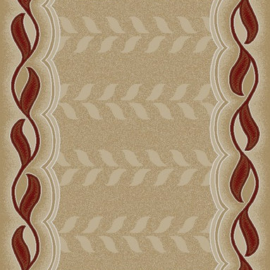 Ottomanson - Dark Red Contemporary Bordered Design Area Rug - Manhattan Collection offers a wide variety of machine made modern design area rugs with high, durable, stain-resistant pile in trendy colors.