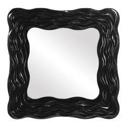 Howard Elliott - Abigail Black Mirror - Our Abigail Mirror features a square frame characterized by a textured wavy effect finished in a glossy black lacquer. Also available in white 56025.