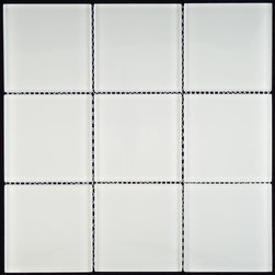 "Euro Glass - Bright White GL-85 4"" x 4"" White Glacier Series Glossy Glass - Sheet size:  11 3/4"" x 11 3/4""        Tile Size:  4"" x 4""        Tiles per sheet:  9        Tile thickness:  1/4""        Grout Joints:  1/8""        Sheet Mount:  Mesh Backed        Sold by the sheet    -"