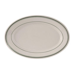 Tuxton - Green Bay 8 1/4x5 3/4 Oval Platter Wide Rim in White with Green Bands-Case of 36 - From breakfast to lunch to dinner, the deep hue of the green lines create that extra special detail to enhance your guests experience.