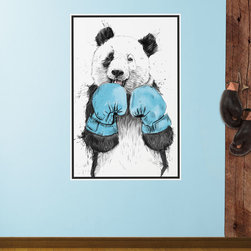 My Wonderful Walls - Boxing Panda Bear Wall Decal - The Winner by Balázs Solti, X-Large - - Product:  panda bear in boxing gloves wall sticker