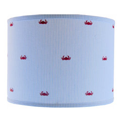 Doodlefish - Small Blue Seersucker Crab Shade - Everyone loves the ocean. This classic embroidered seersuck crab pattern is a classic and making it into a lamp shade is the perfect way to capture the memories. The shade is available in 12x12x10 and 14x14x11. All shades are made to order in the USA and have harp and finial style fittings.