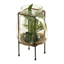 "D&W Silks - Artificial Echeveria and Mini Fern in Glass Bubble With Metal Frame - It's amazing how much adding a plant can change the look of a room or decor, but it can be difficult if your space is not conducive to growing plants, or if you weren't exactly born with a ""green thumb."" Invite the beauty of nature into your home without all the upkeep with this maintenance-free, allergy-free arrangement of artificial echeveria and mini fern in a glass bubble with a metal frame. This is not a living plant."