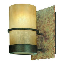Troy Lighting - Bamboo Wall Sconce by Troy Lighting - The Troy Lighting Bamboo Wall Sconce heightens the room's decor with its natural and wrought look and adds a tropical style in your room. The Bamboo Wall Sconce features Bamboo glass shade, hand-worked wrought iron body and Bamboo Bronze finish.Troy Lighting, headquartered in California, designs and manufactures indoor and outdoor lighting fixtures, utilizing hand-forged iron and hand-applied finishes to create quality products with high-style appeal.The Troy Lighting Bamboo Wall Sconce is available with the following:Details:Cylinder-shaped, Bamboo glass shadeHand-worked wrought iron bodyBamboo Bronze with Natural Slate finishWall plateUL ListedLighting: One 100 Watt 120 Volt Medium Base Incandescent lamp (not included).Shipping:This item usually ships within 1 -2 weeks.