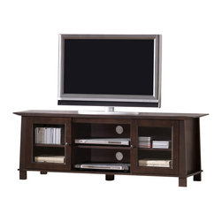 Baxton Studio - Baxton Studio Havana Brown Wood Modern TV Stand (Plasma) - Simultaneously having a classic and contemporary feel, the Havana TV Stand is a versatile design with just the right touch for a sophisticated, casual living space. This is a practical yet elegant entertainment center for DVD players, CDs, books, decor, and other audio/visual peripherals to make their home. The TV cabinet is built with dark brown wenge veneered particleboard and MDF with eco-friendly rubber wood. Glass doors and cord management openings in the rear round out this full-featured unit. To clean, wipe with a dry cloth. Made in Malaysia; assembly is required. A matching Havana end table, bookcases, nesting tables, and coffee table are also offered (each sold separately).