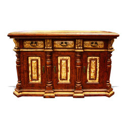 Koenig Collection - Old World Tuscan Bar Santa Barbara, Dark Brown Distressed With Gold And Scrolls - Old World Tuscan Bar Santa Barbara, Dark Brown Distressed with Gold and Scrolls