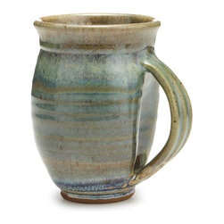 Contemporary Stonewaare Clay Handmade Mug, Green Stoneware - There's nothing quite like cozying up with a hot drink and a good book on a brisk day. Capturing the feeling of bundled-up bliss, Steven R. Nedza's huggable cup is perfect for steaming hot coffee, creamy cocoa, or your favorite herbal tea. The mug's unique contours are designed to be gripped with two hands and make it easy to bring your beverage close so you can slow down and savor the calm. Handcrafted out of stoneware in Watkinsville, Georgia.