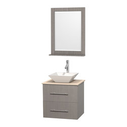 """Wyndham Collection - Centra Bathroom Vanity in Grey Oak,Marble Top,Pyra White Sink,24"""" Mir - Simplicity and elegance combine in the perfect lines of the Centra vanity by the Wyndham Collection. If cutting-edge contemporary design is your style then the Centra vanity is for you - modern, chic and built to last a lifetime. Available with green glass, pure white man-made stone, ivory marble or white carrera marble counters, with stunning vessel or undermount sink(s) and matching mirror(s). Featuring soft close door hinges, drawer glides, and meticulously finished with brushed chrome hardware. The attention to detail on this beautiful vanity is second to none."""
