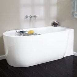 "59"" Averill Acrylic Freestanding Corner Tub - A perfect fit for a corner in your master bathroom, the Averill Freestanding Acrylic Tub is offered in left- or right-side corner."