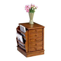 Hammary - Chairside Table w Slatted Side Racks (Oak) - Finish: Oak. Five drawers. Left side magazine rack. Limited warranty. Assembly required. 15.25 in. W x 21.5 in. D x 22 in. H