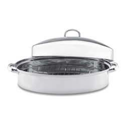 Vinaroz - Stainless Steel Oval 9 Quart Roaster with Grill - 9-quart capacity oval roasting pan with rack and high lid