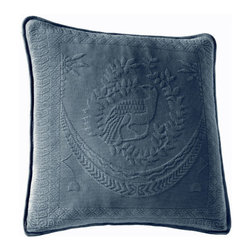 Historic Charleston Collection - King Charles Matelasse Provincial Blue 20-Inch Square Decorative Pillow-Only - - Steeped in Historic Charleston?s rich classic style and decorative arts culture the King Charles 100% cotton matelass� bedding collection offers a unique blend of European Caribbean and Asian influences.   - King Charles matelass� bedding offers a luxuriously soft bedspread coverlet bed skirt shams and decorative accent pillows featuring classic 19th century motifs representing the sun a topiary a pheasant and a pineapple.   - The superior design of the King Charles matelass� bedding ensemble can be traced back to England circa 1820 incorporating key influences from that time period including the fine arts and superior craftsmanship.   - Each piece is crafted individually on special weaving looms to create the luxurious design that defines this lovely matelass� bedding collection.   - Highs and lows created during the jacquard weaving process allow the intricate designs and motifs to come to life.   - Designs from the archives of Historic Charleston?s heritage were interpreted to create the lovely King Charles bedding set.   - Rolling arches half-moons double diamonds and scrolling vine details wrap around the classic topiary pheasant sun and pineapple motifs.   - Coverlet and bedspread drape beautifully over the bed to reveal rounded corners.   - Pair the bedspread or coverlet with bed skirt to create a complete look.   - Add coordinating decorative shams and pillows to create the ultimate bedroom oasis.   - The heavy-weight stonewashed matelass� of King Charles bedding ensures life-long durability and style for generations to come.   - Crafted in Portugal.   - Stone-washed.   - 100% cotton matelass�.   - The Historic Charleston Foundation was established in 1947 and is a nonprofit organization whose mission is to preserve and protect the historical architectural and material culture that make up Charleston?s rich and irreplaceable heritage.   - No deco