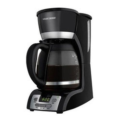 Applica - Black Decker 12-Cup Programmable Coffee Maker Gls Crf Black - Black and Decker 12 -Cup Programmable Coffee Maker in black. Enjoy hassle free simplicity and convenience with the coffeemaker that offers fast easy programming plus the no mess serving of our Perfect Pour carafe. Our special carafe collar keeps drips and spills off the counter. While dishwasher safe parts like the removable filter basket make cleanup a breeze.