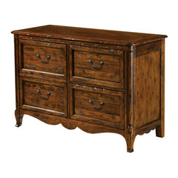 "Hekman - Rue De Bac 8-7244 File Chest - This stunning collection has its focus on the French Provincial styles - very rustic, very warm, deeply cozy and extremely appealing. One of the very original aspects of this rural style is the extensive use of natural materials and wood details. Each piece features distinctive architecture such as rustic beams, stone details, heavy metal accessories and the use of contrasting light and dark tones.; Rue De Bac Collection; Select solids and veneers; Two pull-out surfaces; Top, drawer and door fronts consist of alternating random width, hand-planed Mahogany and select veneer planks with Mahogany solids. The top is arranged in a diamond pattern, drawer and door fronts are arranged in a horizontal pattern; On the right, two file drawers accommodate letter or legal files; One box drawer and one printer pull-out behind the left door; Wire management; Dimensions: 48""L x 20.25""W x 30.5""H"