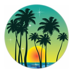 Carolina Hardware and Decor, LLC - Tropical Sunset Ceramic Cabinet Drawer Knob - New 1 1/2 inch ceramic cabinet, drawer, or furniture knob with mounting hardware included. Also works great in a bathroom or on bi-fold closet doors (may require longer screws).  Item can be wiped clean with a soft damp cloth.  Great addition and nice finishing touch to any room.