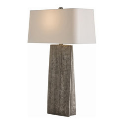 Arteriors - Ravi Lamp - An unusual snakeskin pattern, finished in gray metallic, makes this lamp unique. What makes it so useful is the tapered base, perfect for any surface in your home that demands a smaller footprint — such as a nightstand, buffet or credenza.