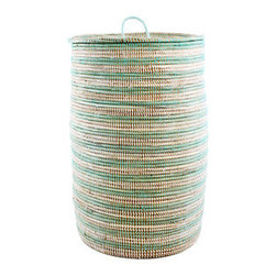 Hand-Woven Hamper - It's time to bring style to your laundry room. This hand-woven hamper is woven from cattail stalks by artisan Wolof women in Senegal. The white and aqua stripes are the perfect contrast, hiding your towels and clothing in soft and subtle style.