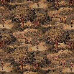 Golfers Golf Course and Clubhouse Themed Tapestry Upholstery Fabric By The Yard - P0310 is an upholstery grade tapestry novelty fabric. This fabric is excellent for cabins, lodges, homes and commercial uses.