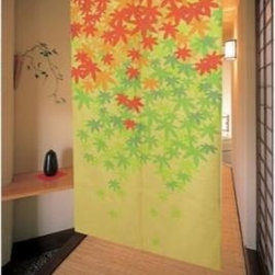 Maple Leaf Japanese Noren Doorway Curtain - Norens are doorway curtains used in homes, businesses and restaurants. The Japanese have been using them for hundreds of years to great effect. In homes Japanese norens are used to separate rooms and doorways while in businesses they are used with the intention of announcing the specialty of the shop. At restaurants Japanese norens serve to create a sense of privacy for the customers. Besides having a practical function, Japanese norens are also meant to add an air of beauty to any scene. All of our Japanese norens are beautifully stitched with exquisite Asian themed patterns. Simply place a rod through the upper part of the noren and hang from any doorway. One may walk right through the middle of the noren, where it splits into two. All Japanese noren doorway curtains feature a design on one side only.