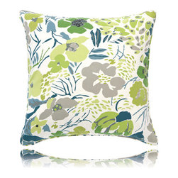 Pine Cone Hill - hot house spring pillow (26x26) - Make a muted backdrop zing with our tropical blooms and foliage on timeless cotton. Decorative piping; feather insert included.��This item comes in��green.��This item size is��26w 26h.