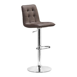 """Zuo - Zuo Oxygen Espresso Adjustable Height Bar or Counter Stool - With its buttoned and tufted detailing this Oxygen adjustable bar stool will make a lovely contemporary accent to your kitchen dining or bar area. This stool adjusts from counter to bar height. The base and footrest have a chrome finish to complement the chair's modern design.  Leatherette wrapped seat. Chrome base and footrest. Adjustable bar stool. Armless design. 16"""" wide. 13"""" deep. Overall 43 1/2"""" to 34 1/2"""" high. Seat height is 32 1/2"""" to 23 1/2"""".  Leatherette wrapped seat.  Chrome base and footrest.  Adjustable bar stool.  Armless design.  16"""" wide.  13"""" deep.  Overall 43 1/2"""" to 34 1/2"""" high.   Seat height is 32 1/2"""" to 23 1/2"""".  Some assembly required."""