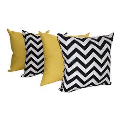 Land of Pillows - Sundeck Yellow and Chevron Black and White Outdoor Throw Pillows - Set of 4, 18x - Fabric Designer - Premium Home Decor